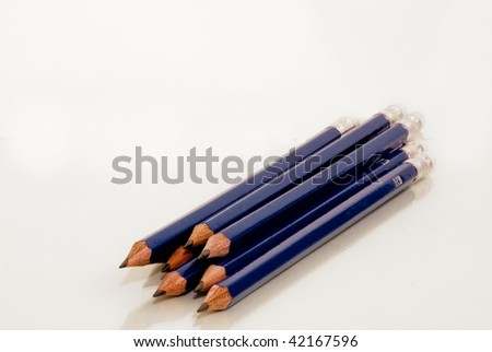 Blue hb pencils against a white background - stock photo