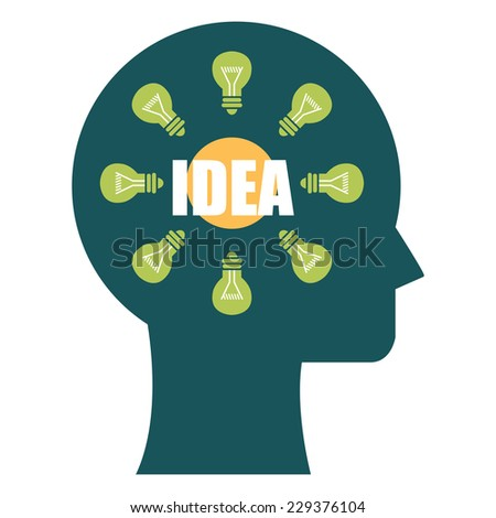 Blue Head With Idea and Light Bulb Inside Icon or Label Isolated on White Background  - stock photo
