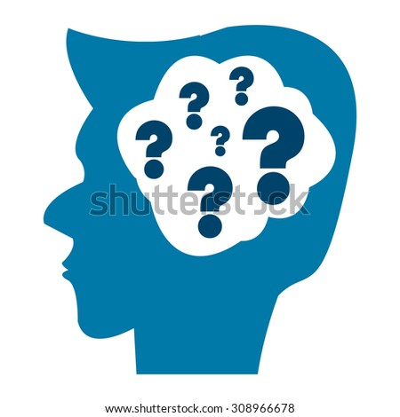 Blue Head With Question Mark Brain Infographics Flat Icon, Sign Isolated on White Background