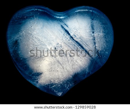 Blue heart of the ice on a black background