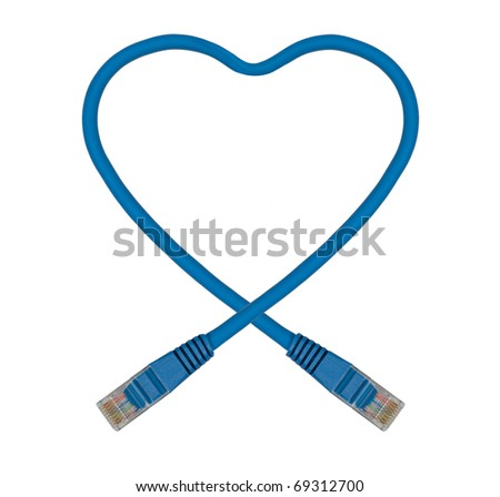 Blue Heart Shaped Ethernet Network Cable - IT Valentine's Day