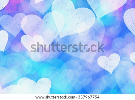 blue hearts bokeh background of Love symbol - stock photo