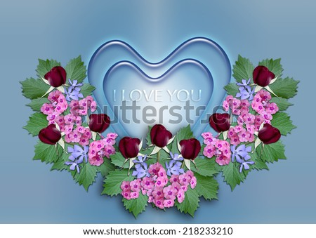 Blue hearts with a wreath of flowers on a blue background - stock photo