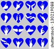 Blue Hearts with Hand Silhouettes. Also see red version - stock photo