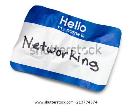 Blue Hello Name Tag on White - stock photo