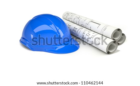 Blue helmet near the scrolls drawings. Isolated on white background - stock photo