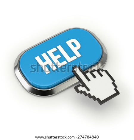 Blue help button with metallic border on white background