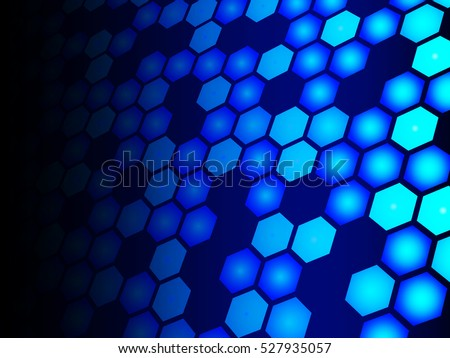 Blue hexagons fading against black background illustration