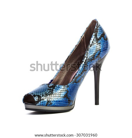 Blue high heel women shoe isolated on white background - stock photo