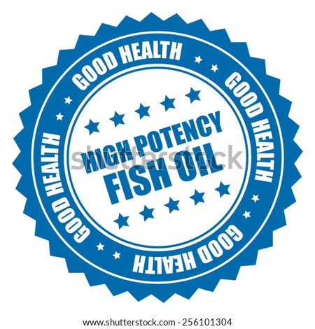 blue high potency fish oil good health sticker, badge, icon, stamp, label isolated on white  - stock photo