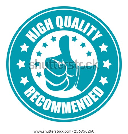 blue high quality recommended sticker, badge, icon, stamp, label, banner, sign isolated on white - stock photo