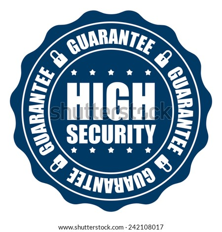 Blue High Security Guarantee Icon, Badge, Sticker, Tag or Label Isolated on White Background