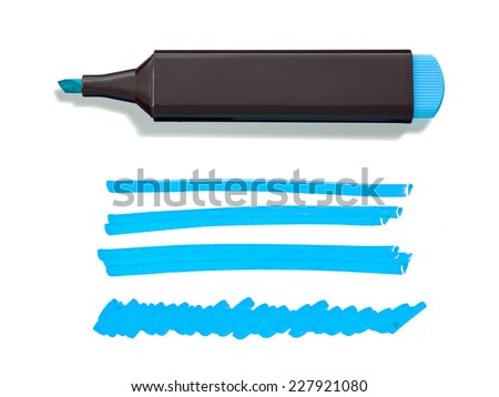 Blue Highlighter Pen and Doodles Isolated on White Background with Real Shadow and Text Space - stock photo