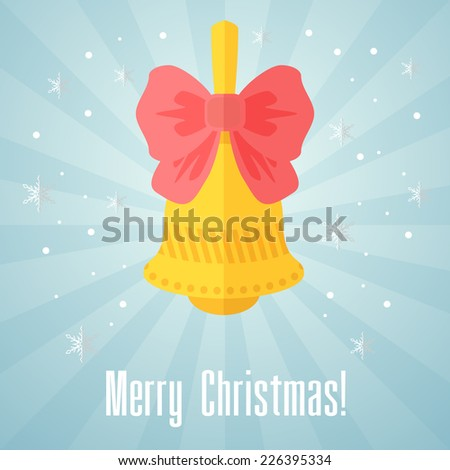 Blue holiday Christmas card with bell and red bow - stock photo