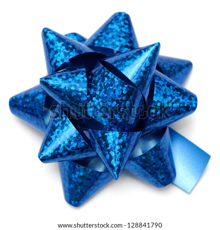 Blue holographic gift bow on white background. - stock photo