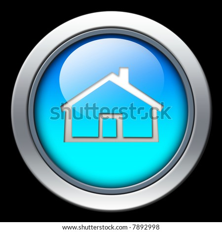 Blue home icon - stock photo