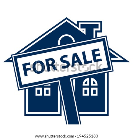 Blue Home or Residence for Sale Icon or Label Isolated on White Background - stock photo