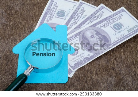 Blue home sign with magnifying glass and money: Pension - stock photo