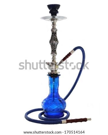 Blue Hookah isolated on white. - stock photo