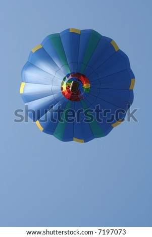 Blue Hot Air Balloon from below - stock photo
