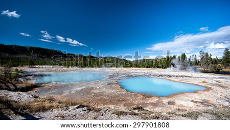 Blue hot-spring with blue sky in Yellowstone National Park - stock photo