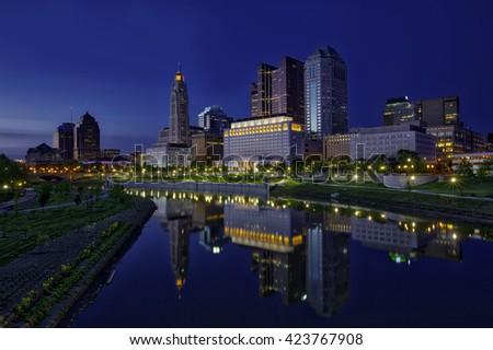Blue hour glow of columbus, Ohio - stock photo
