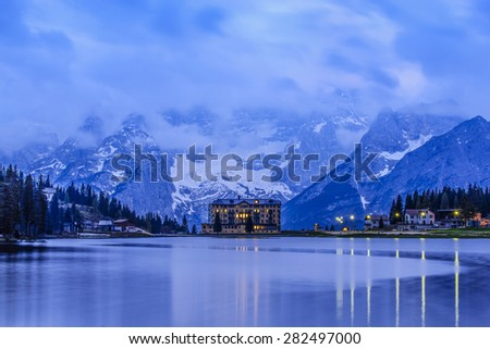 Blue hour of Lake Misurina, Dolomite, Italy - stock photo