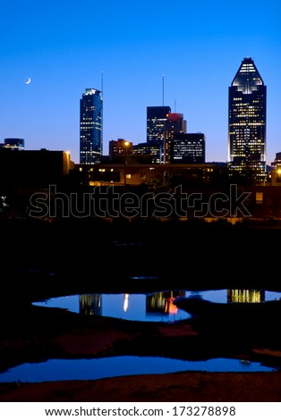 Blue hour skyline of Montreal city, Canada - stock photo