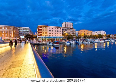 Blue hour Zadar waterfront view, Dalmatia, Croatia - stock photo