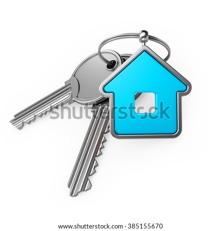 blue house and key, on a white background, 3d render - stock photo