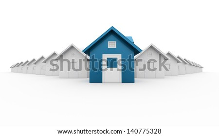Blue house icon concept rendered on white background - stock photo