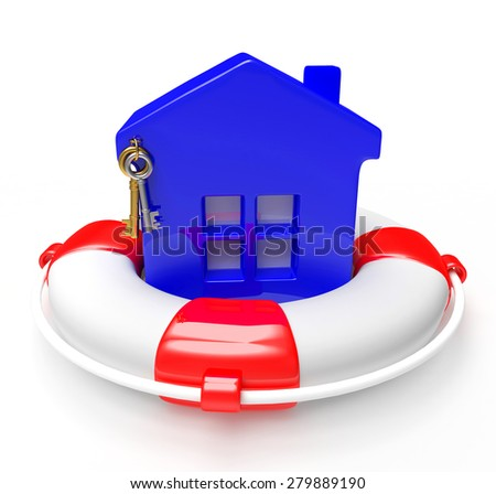 Blue house in lifebuoy isolated on white background. Property insurance concept. - stock photo