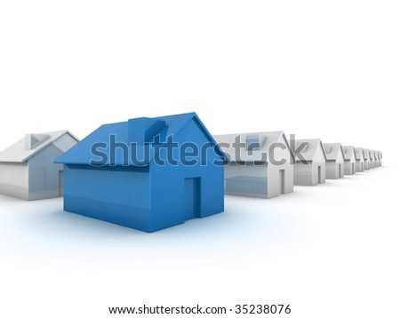 Blue house in the foreground 'standing out from the crowd' concept image
