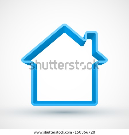 Blue house outline 3D. - stock photo