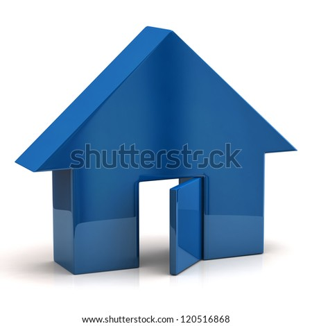 Blue house with open doors - stock photo