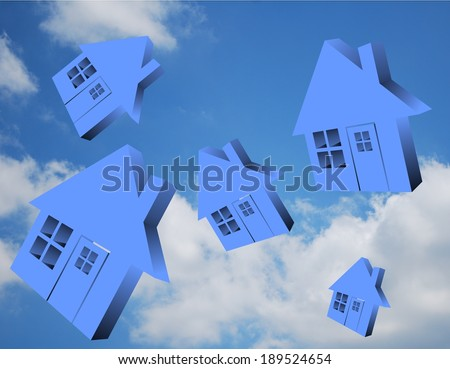Blue houses flying in the sky