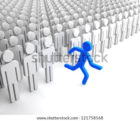 Blue Human Figure Running from the Crowd of Gray Indifferent Humans - stock photo