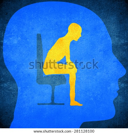 blue human head silhouette with a man sitting inside psycology concept - stock photo