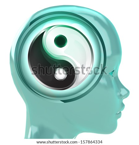 blue human head with brain cloud with yin yang harmony inside illustration - stock photo