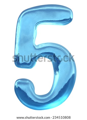 Blue ice alphabet and  set of numbers. Digit 5, five - stock photo