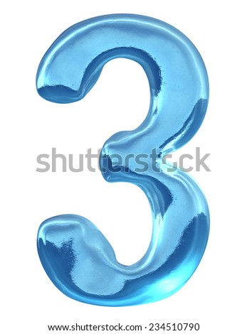 Blue ice alphabet and  set of numbers. Digit 3, three - stock photo