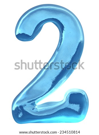 Blue ice alphabet and  set of numbers. Digit 2, two - stock photo