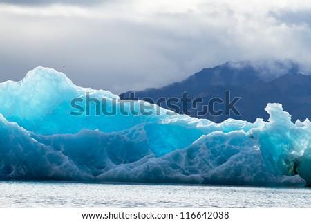 Blue ice at Icelake Jokulsarlon Iceland - stock photo