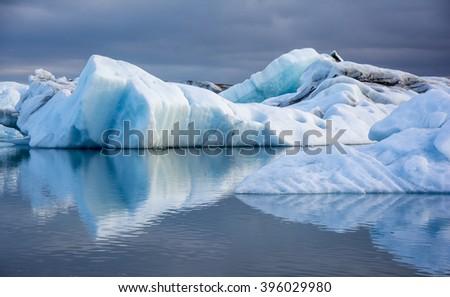 Blue ice at Icelake Jokulsarlon. Iceland - stock photo