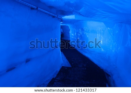 Blue Ice cave near Matterhorn mountain, Zermatt, Switzerland