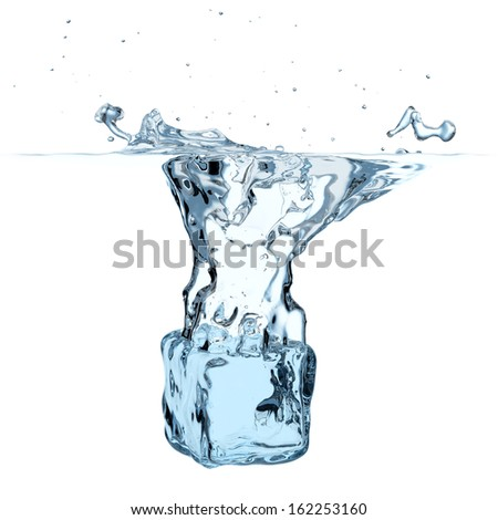 Blue ice cube dropped to water with splash isolated on white background - stock photo