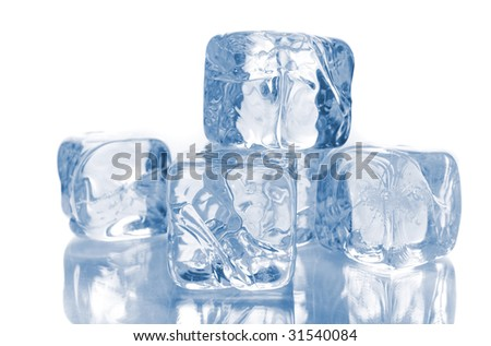 Blue ice cubes isolated over white background with reflections