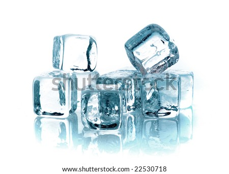 Blue ice cubes on white background - stock photo