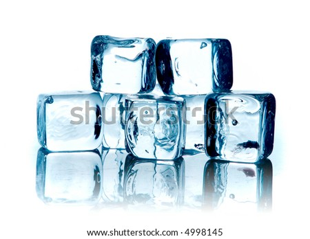 Blue ice cubes on white background