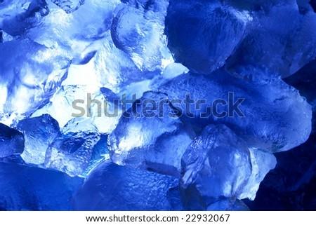 blue ice horizontal - stock photo